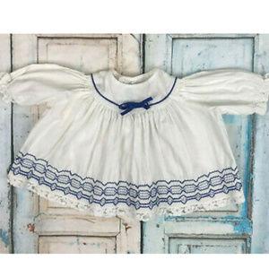 Vtg Baby Girl 3 Month Dress White Cotton Blue Trim